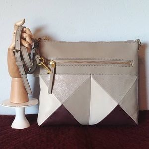NEW Fossil Fiona Large Crossbody Champagne Leather